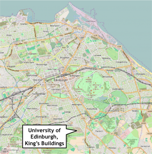 Map of Edinburgh, showing location of King's Buildings