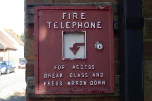 Fire Telephone Fire Telephone on Bidford On Avon old fire station, Church Street, Bidford On Avon, Warwickshire